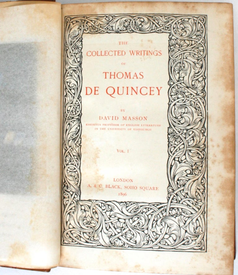 English Collected Writings of Thomas De Quincey in 14 Volumes, 1896 For Sale
