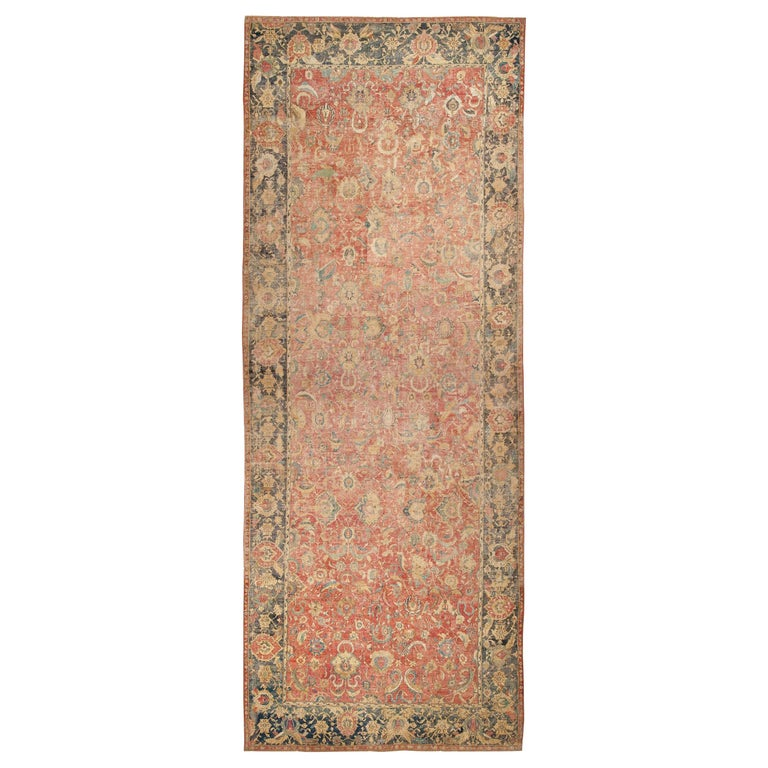Collectible 17th Century Persian Esfahan Rug. Size: 11 ft 4 in x 30 ft For Sale