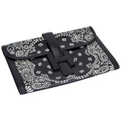 Collectible 1979 Hermès Black Box Jige Clutch Bandana Bag