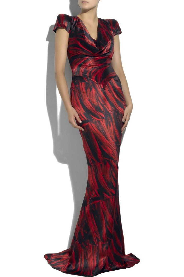 Brown Collectible 2009 Alexander McQueen feather print silk gown For Sale