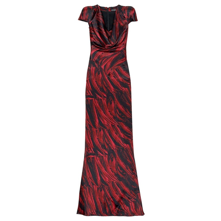 Collectible 2009 Alexander McQueen feather print silk gown For Sale