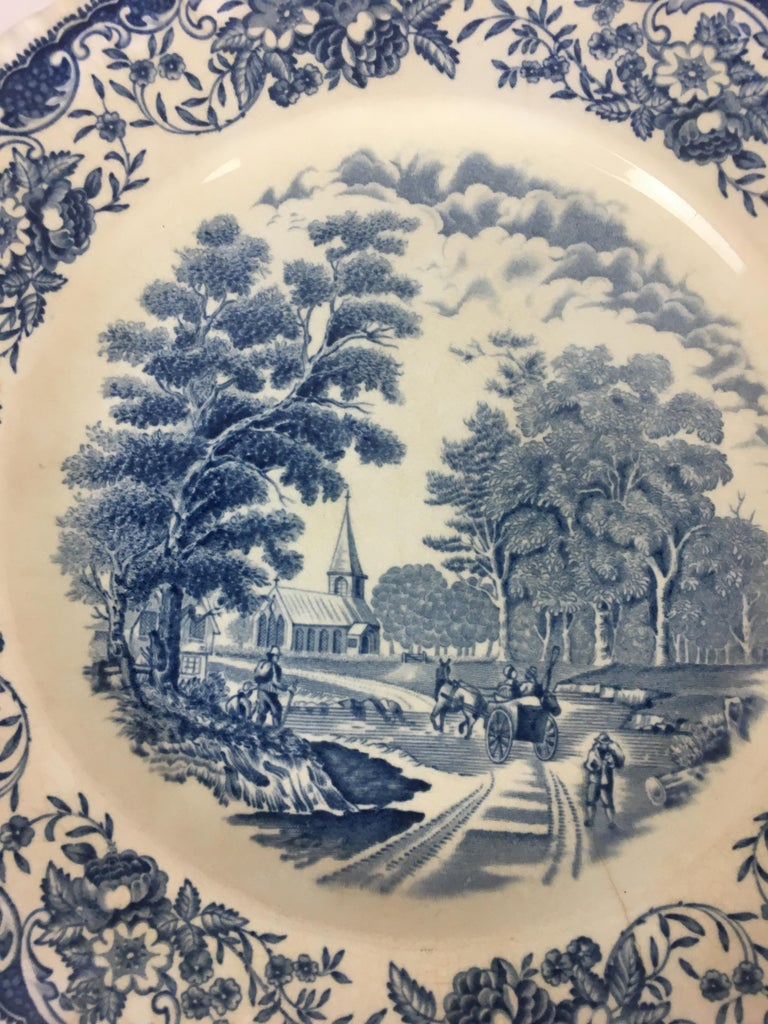 Dinner plate with deep blue-white decor from England. Manufacturer: Royal Tudor  This plate is from the manufacturer's 1960s series. Originals were produced from the 17th century England all having a deep blue iridescent decor. The edge was