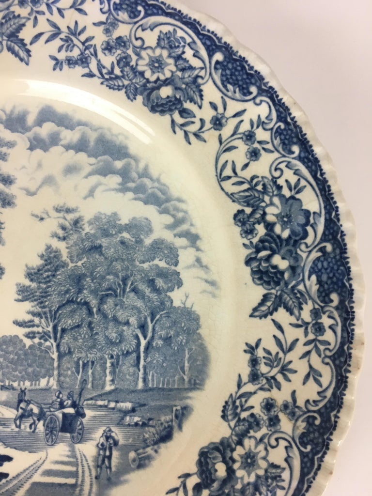 Hand-Painted Collectible Blue and White Royal Tudor Ware England Plate For Sale