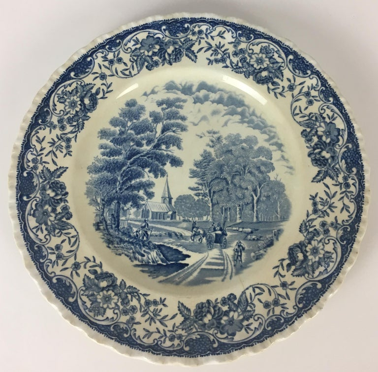 Collectible Blue and White Royal Tudor Ware England Plate In Good Condition For Sale In Arles, FR