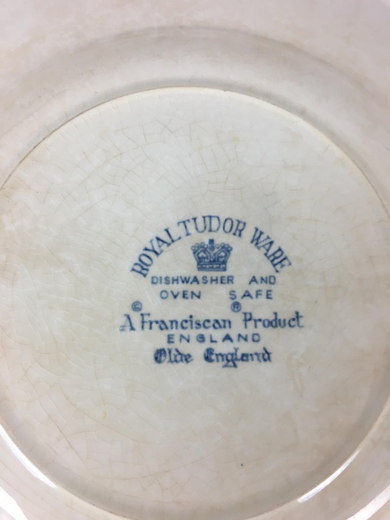 Mid-20th Century Collectible Blue and White Royal Tudor Ware England Plate For Sale