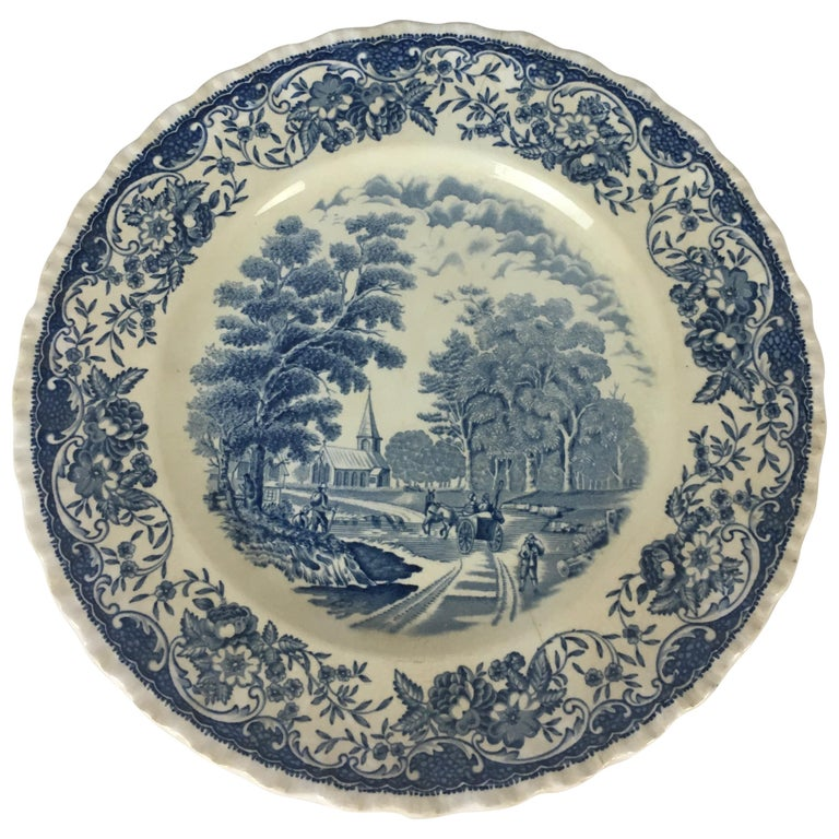 Collectible Blue and White Royal Tudor Ware England Plate For Sale
