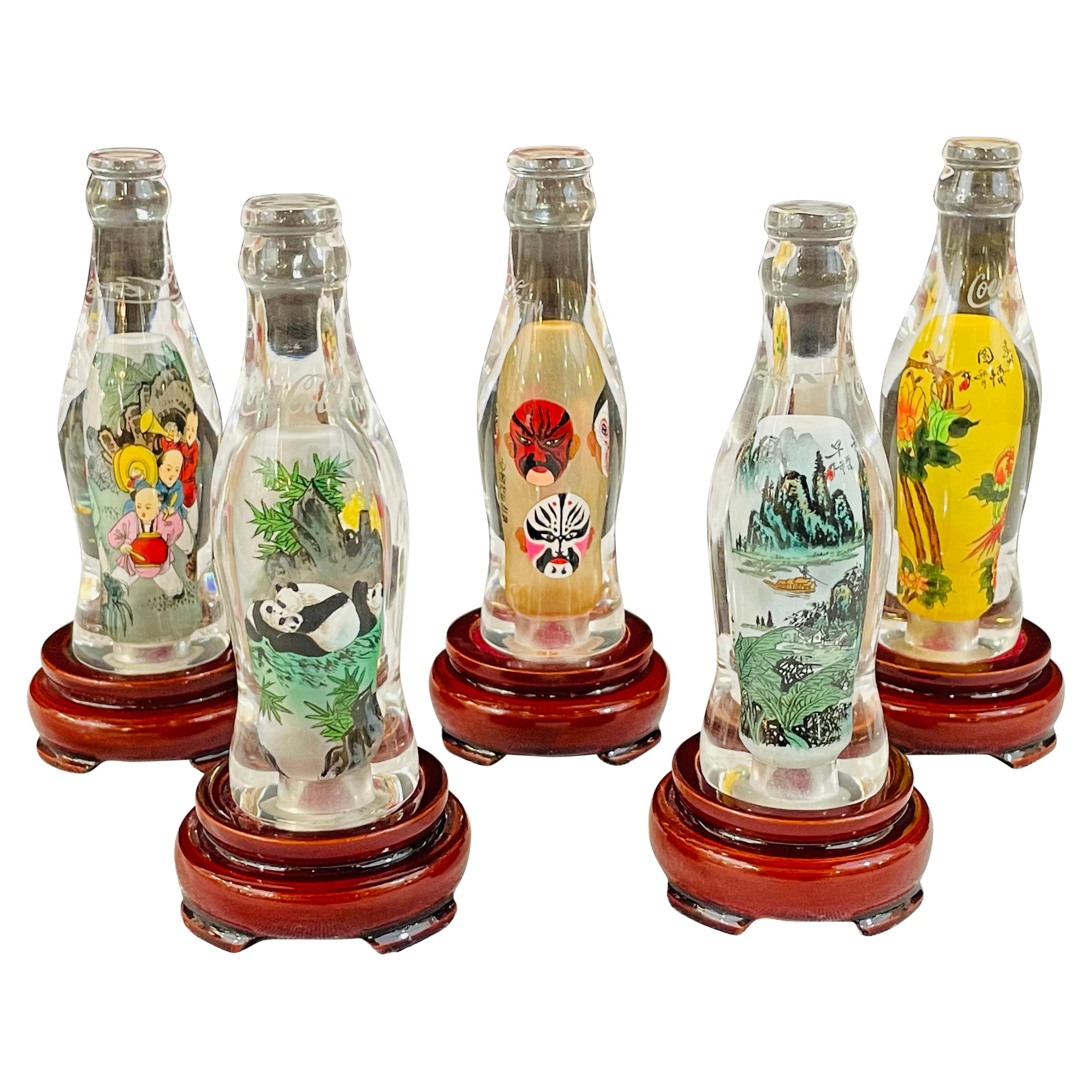 Collectible Coca-Cola Special Edition Asian Chinese Bottles, a Set of 5
