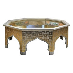 Collectible Contemporary Coffee Table in Precious Photoengraved Gold Leather