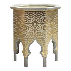 Collectible Contemporary Side Table in Precious Photoengraved Gold Leather