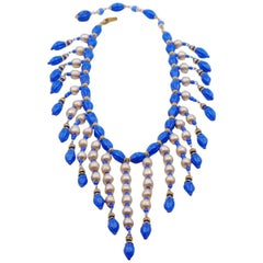 Collectible Miriam Haskell Bib necklace Faux Lapis and Pearl 1949