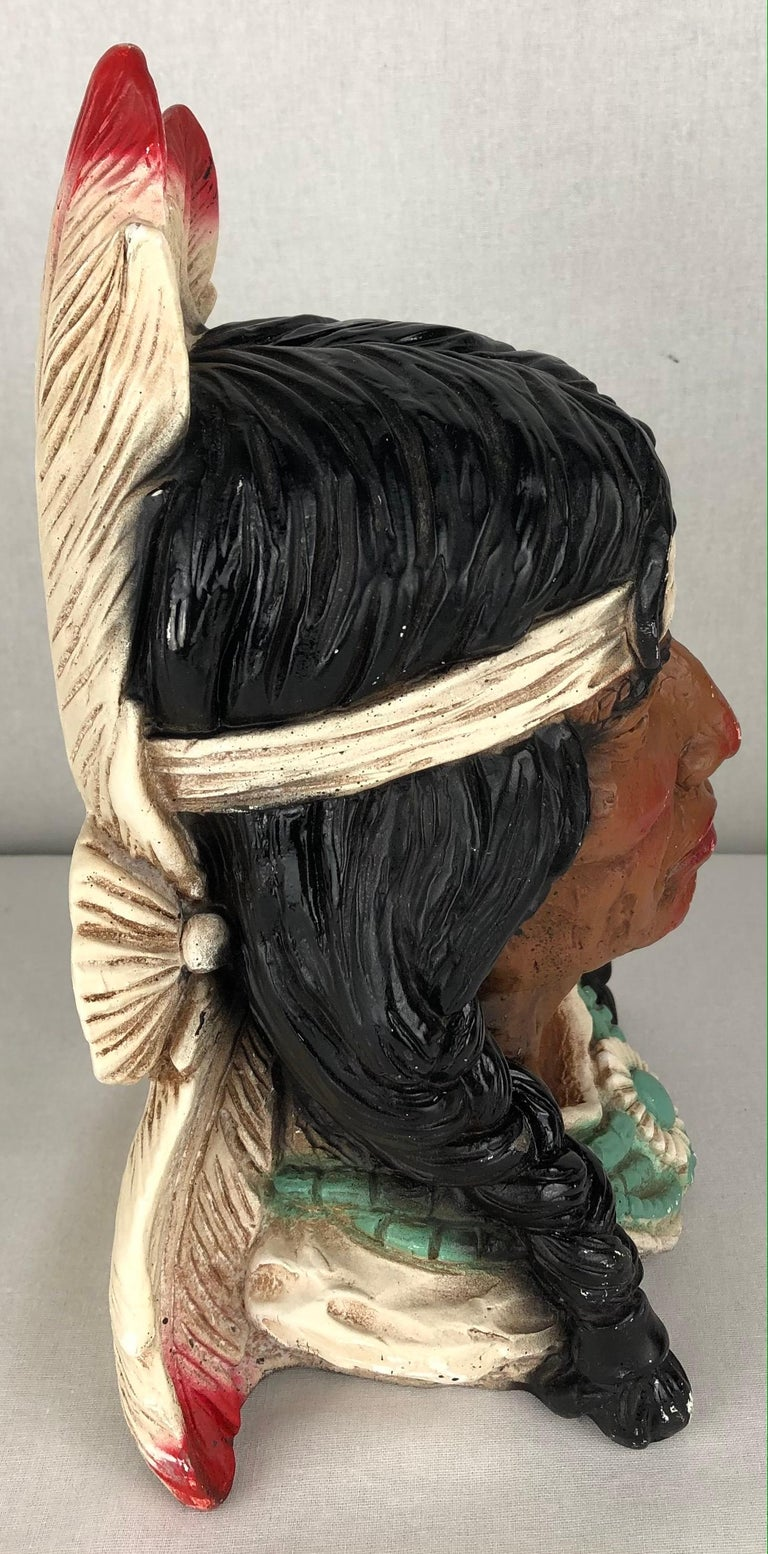 Painted Collectible Native American Indian Chief Statue For Sale