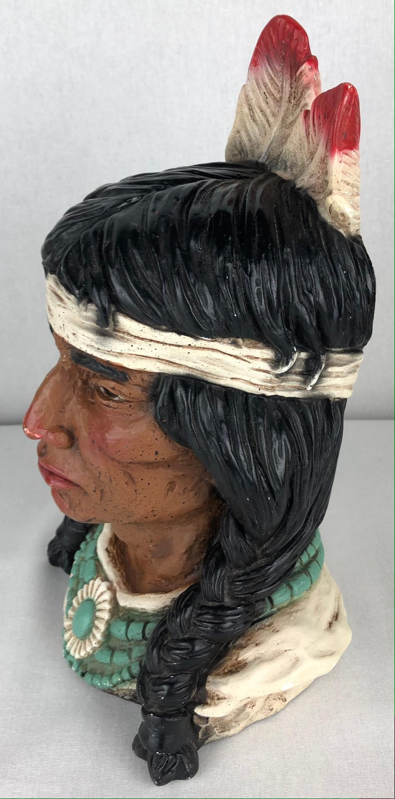 Plaster Collectible Native American Indian Chief Statue For Sale