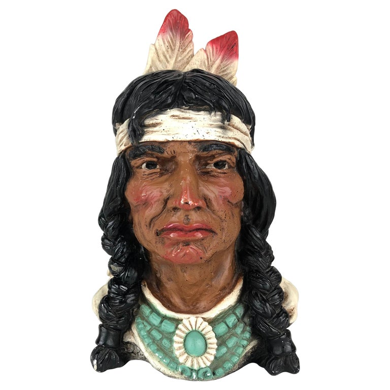 Collectible Native American Indian Chief Statue For Sale