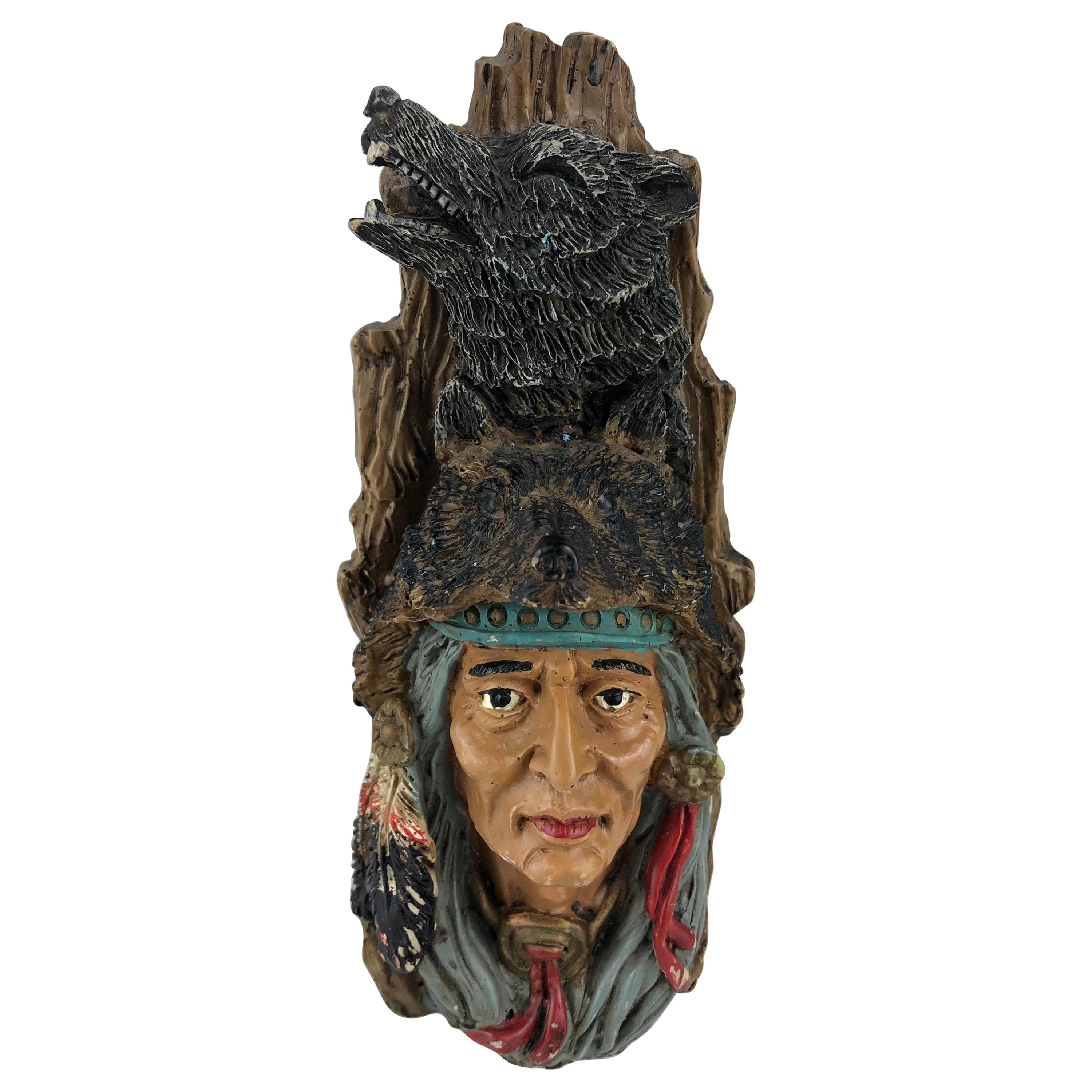 Collectible Native American Indian Hunter with Wolf Headresses