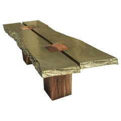 "Collectible Sculpture Solid Wood Dining Table with Brass Metal Slabs Like ""BRUT"""