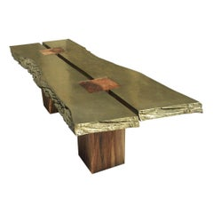 """Collectible Sculpture Solid Wood Dining Table with Brass Metal Slabs Like """"BRUT"""""""