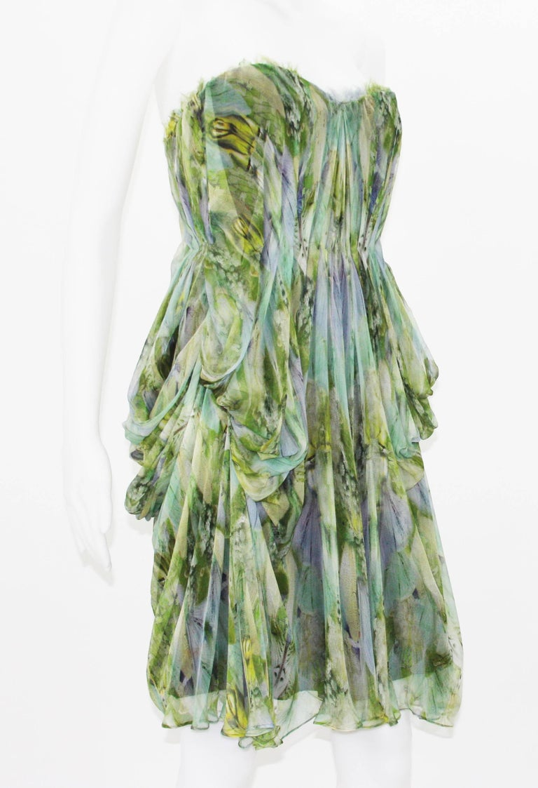"Alexander McQueen "" Praying Mantis"" Rare and Extremely Collectible Dress. S/S 2010 'Plato's Atlantis' Collection. Designer size 38. Draped Mantis Wing Print Silk Chiffon Fabric -   Exquisite Print. Corset Style Dress, Fully Lined, 100% Silk. Made in"