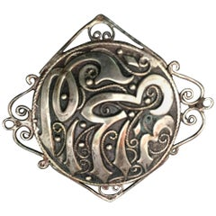 Collectible Turkish Silver Veil Pin Brooch with Arabic Writing LOVE