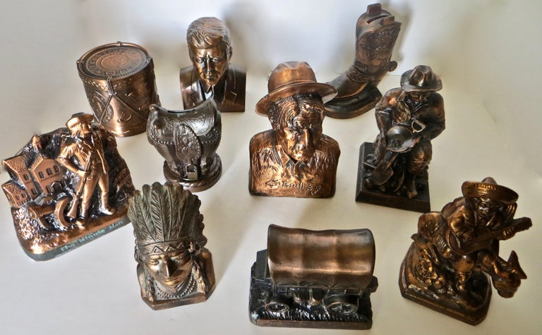 Collection '10' Banthrico and Metal Banks Western/Americana Theme. Ca. 1950's-70 For Sale 12