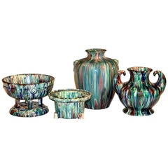 Collection Awaji Art Deco Studio Pottery Flambe Japanese Vases Objects