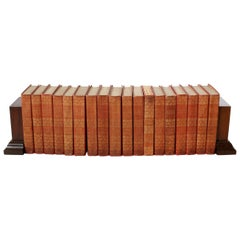 Collection Gilt Leather Bound Books / Eighteen Volumes