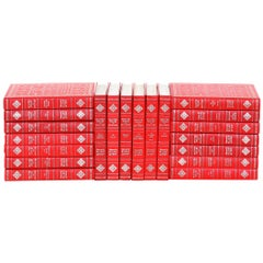 Collection Gilt Leather Bound Books / Twenty Volumes