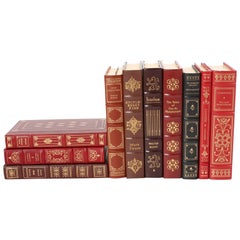 Collection Gilt Leather Bound Library Book Set of Ten