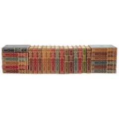 Collection Gilt Leather Bound Library Book Twenty Six Volumes