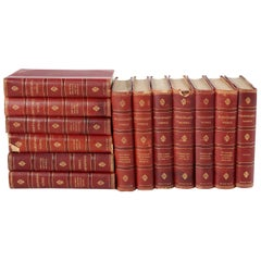 Collection Leather Bound Library Book Set of Seventeen