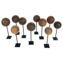 Collection of 10 Custom Mounted Antique Wooden Balls