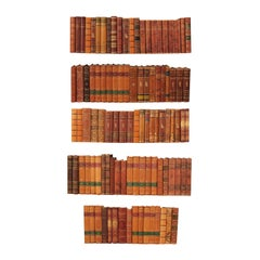 Collection of 100 Swedish Antique Leather-Bound Books from the 1920s