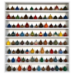 Collection of 104 Antique Wooden Spinning Tops in a Custom Shadow Box Frame