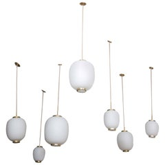 Collection of 11 Opaline Glass and Brass Ceiling Fixtures, Bent Karlby for Lyfa