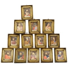 Collection of 13 Jesus & Apostles Portraits, Watercolour, Gilt Frames, European