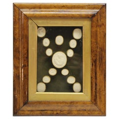 Collection of 14 Grand Tour Intaglios in Original Fruitwood Frame