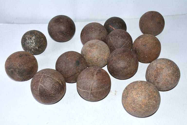 French Collection of 15 Antique Italian Bocce Balls For Sale