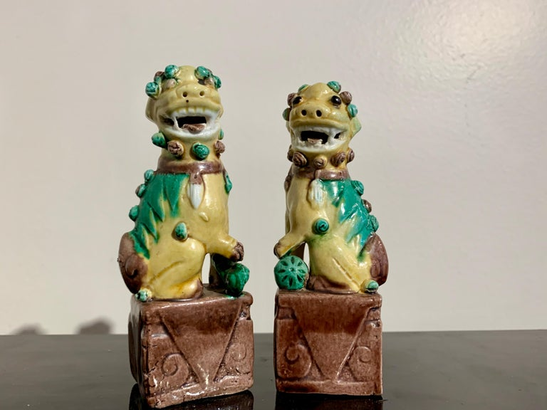 Collection of 16 Chinese Yellow Glazed Foo Dogs, Early 20th Century, China For Sale 9