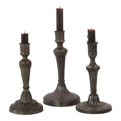 Collection of 18th-19th Century French Pewter Candleholders