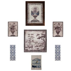 Collection of 18th Century Painted Delft Tile Scenes