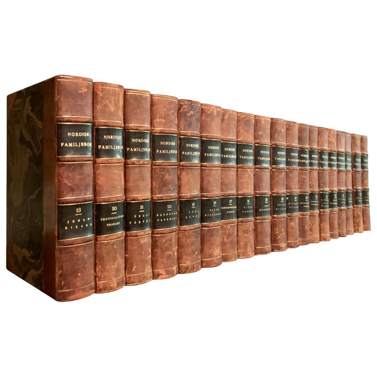 A collection of 19 Swedish decorative antique leather-bound library books from 1910-1920.  This lot of books of