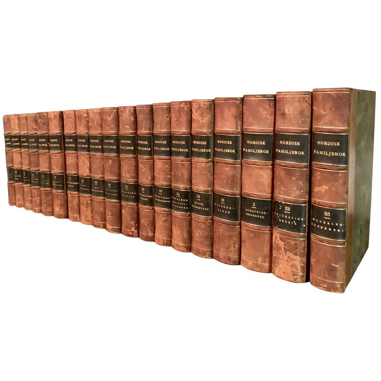 British Colonial Collection of 19 Scandinavian Antique Leather-Bound Books For Sale
