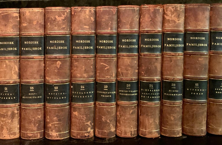 Collection of 19 Scandinavian Antique Leather-Bound Books In Good Condition For Sale In Haddonfield, NJ