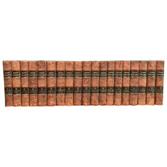Collection of 19 Scandinavian Antique Leather-Bound Books