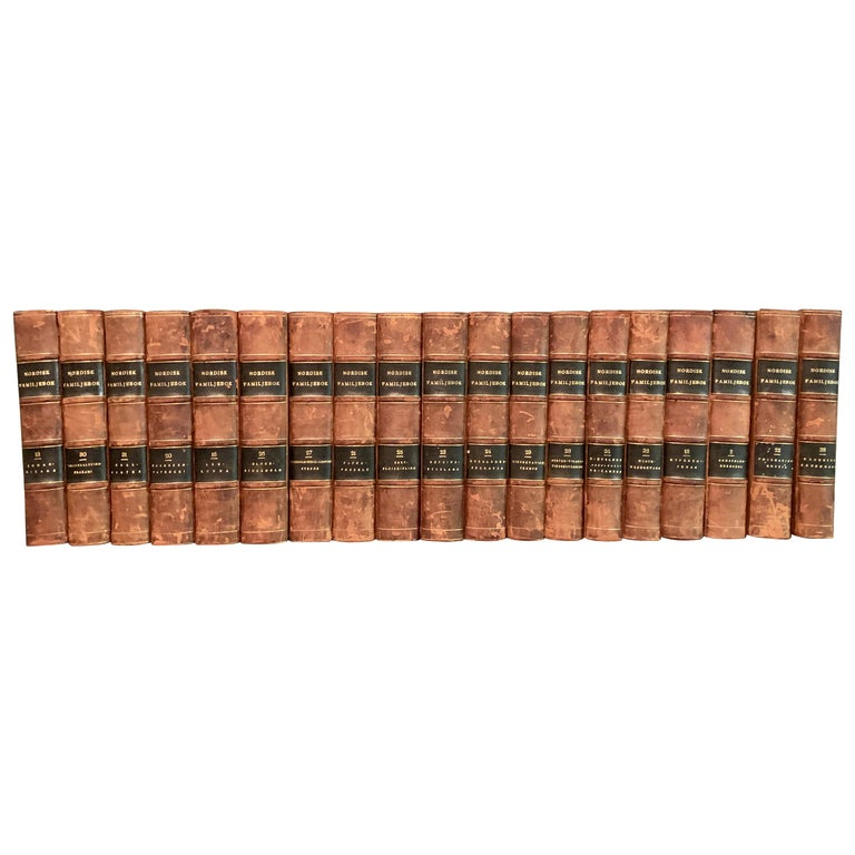 Collection of 19 Scandinavian Antique Leather-Bound Books For Sale