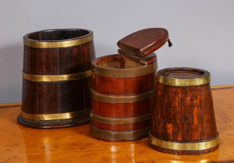 Georgian Collection of 19th Century Brass Bound Vessels For Sale