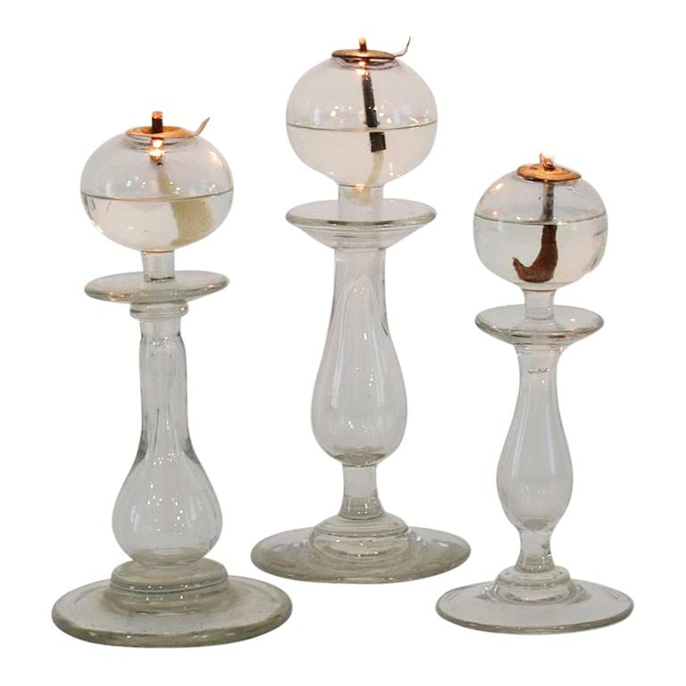 Collection of 19th Century French Glass Weaver Oil Lamps For Sale