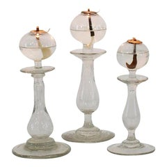 Collection of 19th Century French Glass Weaver Oil Lamps