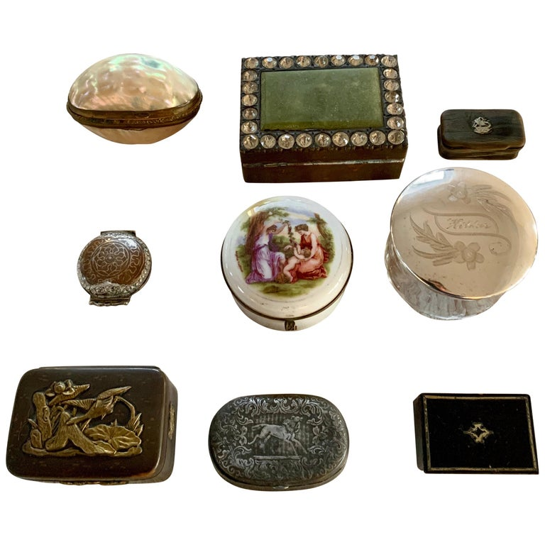 European Collection Of Antique 19th Century Snuff Boxes  For Sale