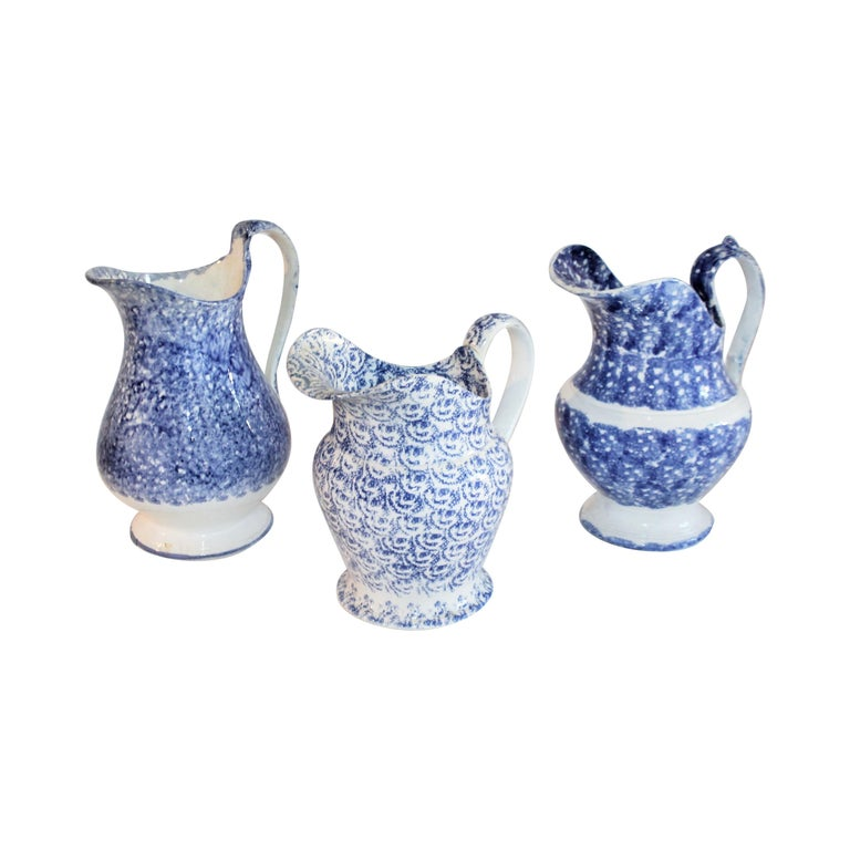 Collection of 19th Century Spatter Ware Soft Paste Pitchers, 3 For Sale