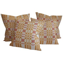 Collection of 19th Century Coverlet Pillows Two Pairs